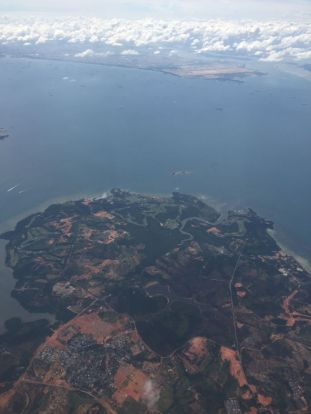 In the approach to Singapore above an Indonesian island